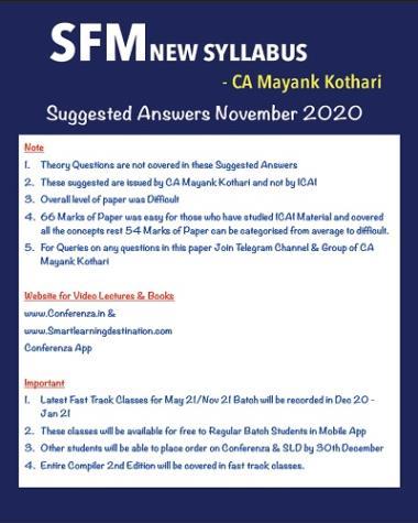 SFM Suggested Nov 20